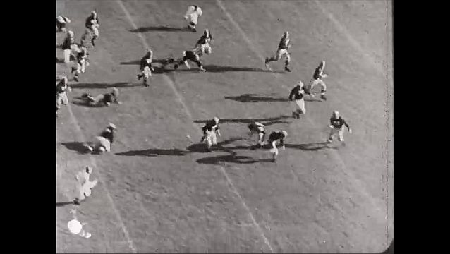 1940s: Football player in uniform, leather helmet. Football players run on field, dive, trip, fall, score touchdown.