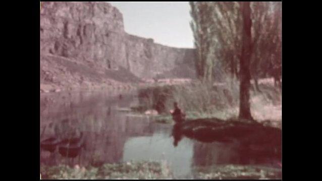 1950s: Long shot, man fishing in river.