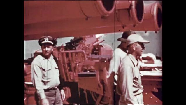 1940s: UNITED STATES: Bomb aiming point. President Evaluation Commission. Military supplies and equipment on Ship