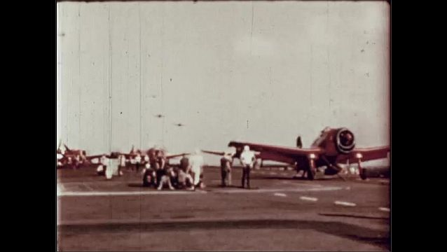 1940s: UNITED STATES: people stand near planes before take off. Planes fly over airport. Planes takes off.