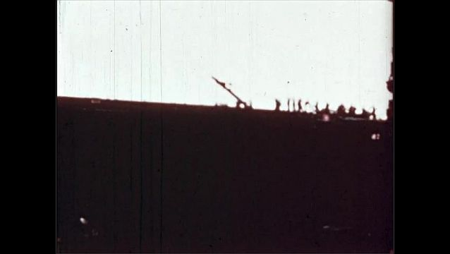 1940s: UNITED STATES: remains of ship after blast to port side. Saratoga ship with minimal damage.