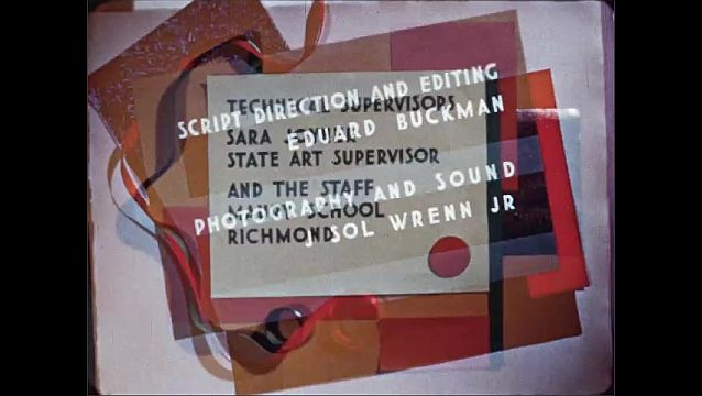 1940s: Colorful mixed media title placards and credits.