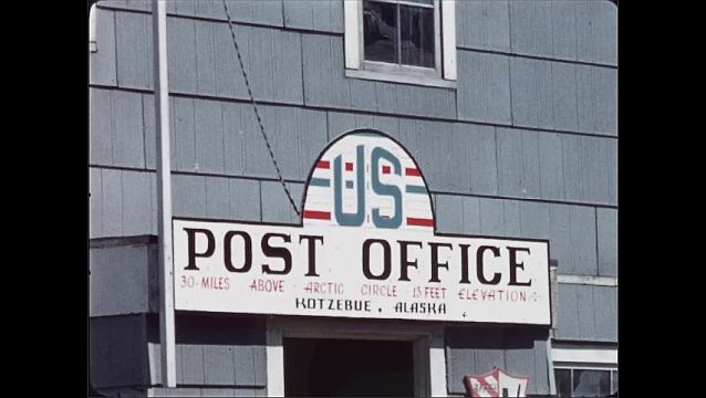 1970s: Post office sign. Wooden cabin.
