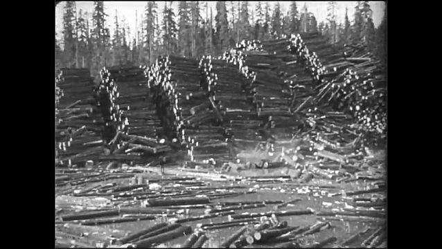 1920s: Logs move down flume into river.  Building.  Huge piles of lumber.  Men work in camp.