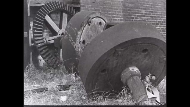 1940s: View of abandoned mill and equipment. Want ads for tools and machinists.