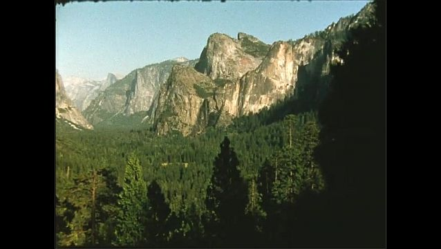 1950s: Panorama of mountains.