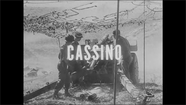 1940s: Soldiers fire cannons. Names of locations flash across screen.