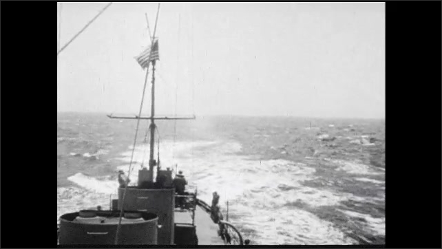 1940s: ship convoy and ocean seen from deck, sailor looks with and adjusts sextant, sailors work at stern of ship as it leaves wake, sailor looks through binoculars