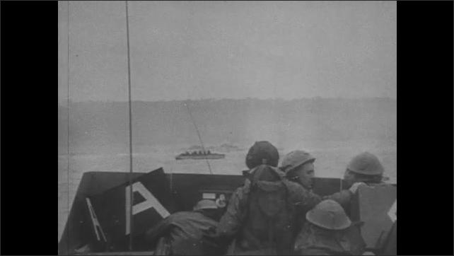 1940s: Soldiers travel towards shore on landing crafts. Nazi soldiers travel towards boats. Boats reach shore.