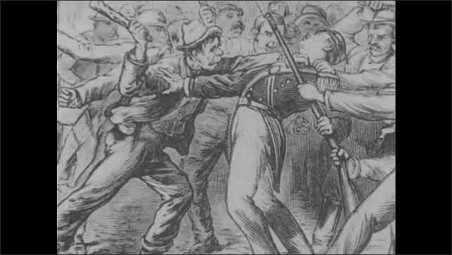 1960s: illustrations of rioting men and women, men throwing rocks and bricks and shooting at soldiers, soldiers shooting at crowd, men with sticks, wounded men, man carried on stretcher, men near fire