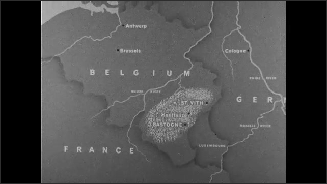 1940s: map of the Ardennes forest in southern Belgium, soldiers marching