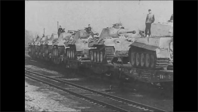 1940s: soldiers marching down road waving, tanks being guided in a row, photo of the second panzer division, soldier walking up to another as tank drives past