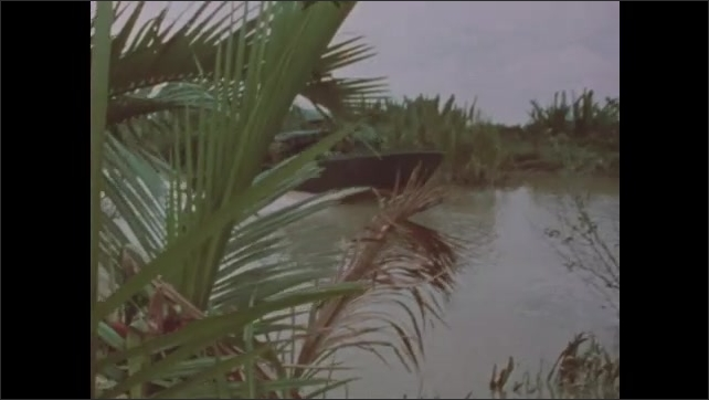 1960s Vietnam: Hands operate boat controls. Soldiers drive patrol boats down narrow jungle canal.