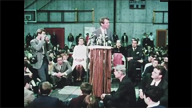 1960s Oregon: Robert F. Kennedy stands at podium, speaks.