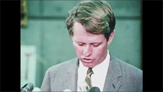 1960s Oregon: Robert F. Kennedy stands at podium, speaks.