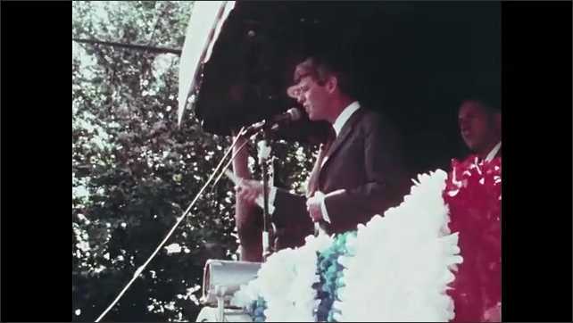 1960s Oregon: Robert F. Kennedy speaks from back of train.
