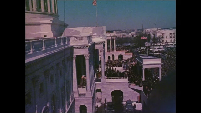 1960s: gigantic crowd in front of US Capitol building for JFK's inauguration