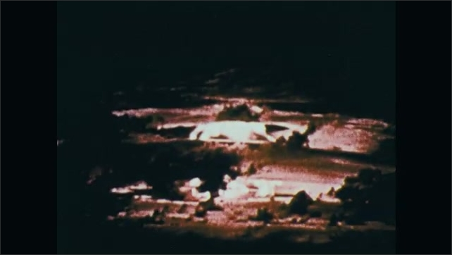 1970s: UNITED STATES: mushroom cloud in sky. Massive nuclear explosion.