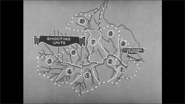 1930s: map of land with waterways, numbered shooting units and checking station. man raises USA flag near two large tents in woods as men sit on chairs.