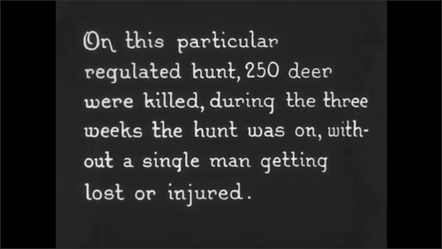 1930s: man mimes his hunting adventure, fake fires gun and sits at campfire next to men in hunting gear at tent in the dark woods. title card recounts how 250 deer were killed without a human hurt.