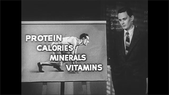 """1940s: Woman teaches. Roast beef sits on scale. Man at poster reading """"Protein. Calories. Minerals. Vitamins"""". Man flips poster to daily food recommendations. Woman takes notes in classroom."""