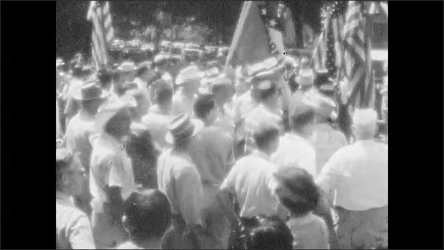 1950s: Policemen block protest march.
