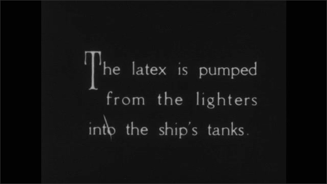 1930s: UNITED STATES: workers load latex onto ships at Belawan port. Latex pumped into hull of ship. Silverline ship departs for New York.
