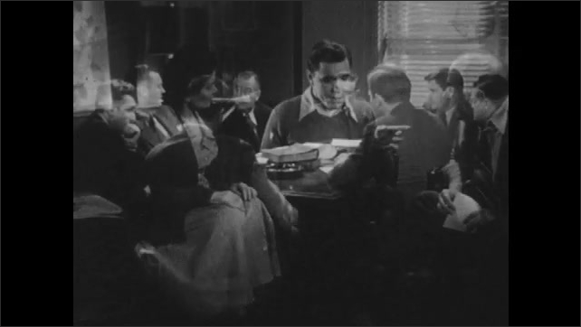 1950s: Men punch their time cards, collect their pay. Man comes home, greets wife and child. Parents talk with teen boy. Men talk around table. Group of men talk. Question mark.