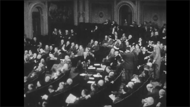 1940s: Dam spills water. Congress is in session. Representatives raise hands to vote. Kids argue.
