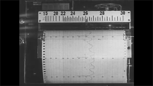 1930s: Pipe pushes through hole. Words explain that temperatures recorded. Scientific instruments. Words talk about gas and air. Thermometer.