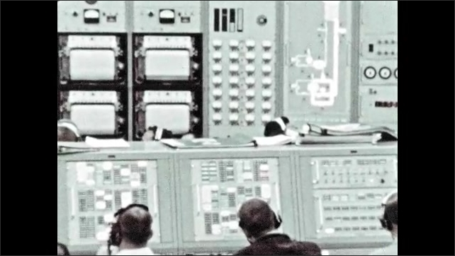 1960s: Control room with computers, instruments and equipment.