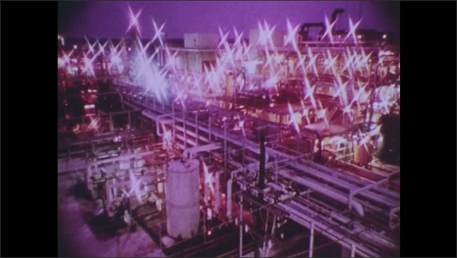 1980s: Water pours between metal teeth. Lights glimmer at chemical treatment plant.