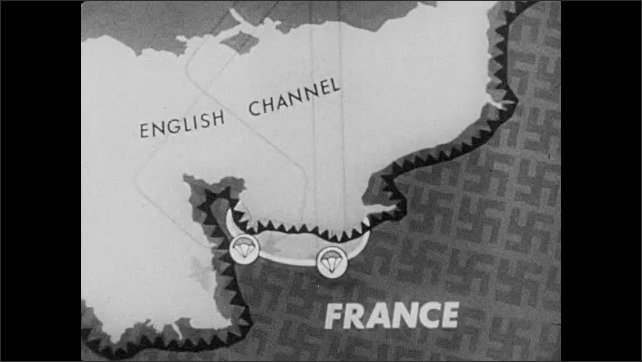1940s: Animated map of Western Europe covered in swastikas. Airplanes move toward the mainland. Parachutes over the beaches. Ships move away from England, align mid ocean.