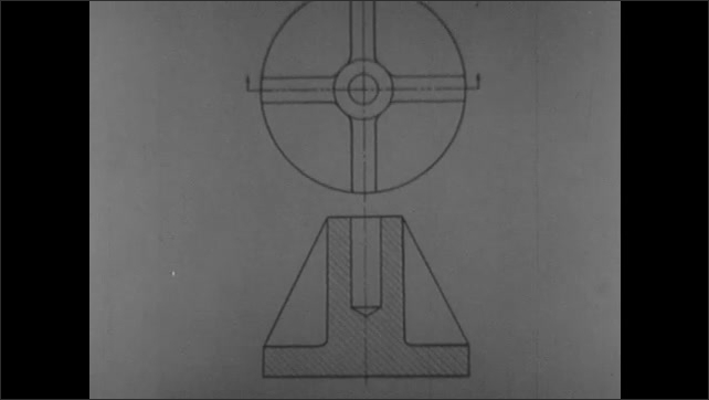 1950s: Sectional view of cylinder object with hole cut down halfway from top. Blueprint illustration of sectional view of cylinder.