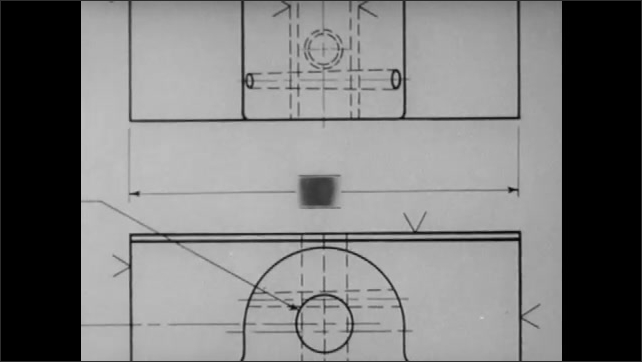 1940s: Vice clamp with open jaws. Technical drawing of clamp parts.
