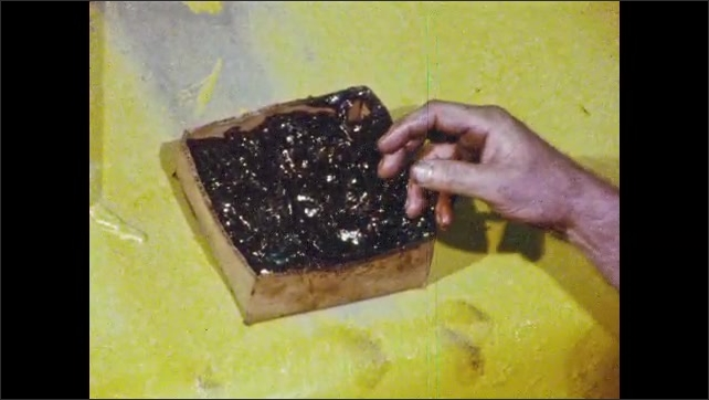 1980s: UNITED STATES: man inserts pin into hole on bucket. Man picks up grease in hands. Man sits in cabin. Man in cabin flicks wasp. Close up of wasp. Man puts hand in hole