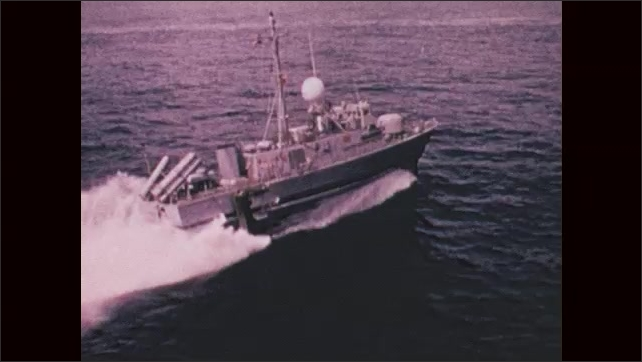 1970s: UNITED STATES: guided missile destroyer ship at sea