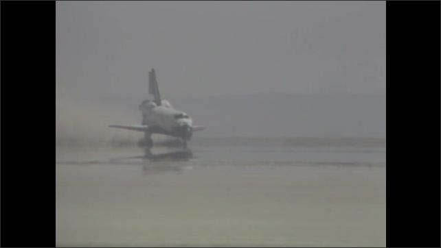 1980s: Space shuttle lands.