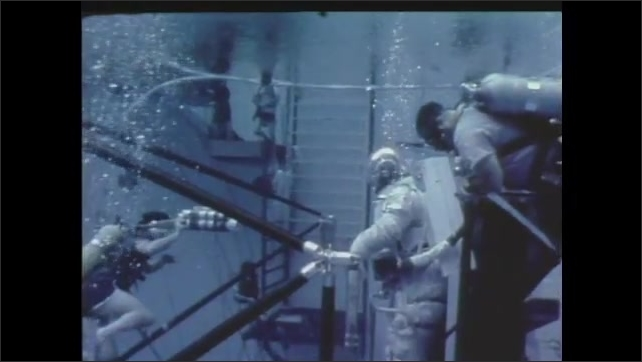 1980s: Space shuttle in space. Researchers test equipment underwater.