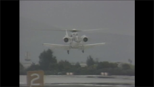 1980s: Rotor Systems Research Aircraft approaches runway.