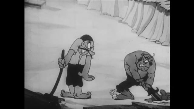 1930s: Cartoon.  Beach.  Pirates bury hole for treasure.  Man throws coconuts at pirates from palm tree.  Men fight.