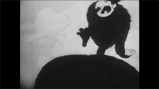 1930s: Cartoon.  Pirates fight on beach.  Man in palm tree finds gorilla.  Gorilla throws man at pirate.  Men fight.  Pirate captain swings sword at man tied to tree.
