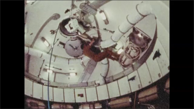 1970s: UNITED STATES: air conditioning screen inside Skylab. Crew put on space suits before return to Earth