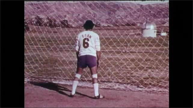 1970s: UNITED STATES: goalkeeper on knees. Goalkeeper sits on bottom in net. Goalkeeper keeps back to ball