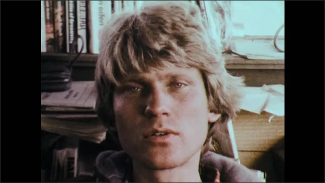 1970s: UNITED STATES: man talks to camera.