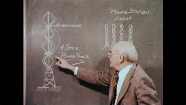 1970s: UNITED STATES: man points at stacks drawn on chalk board. Prevailing wind drawn on chalk board. Power station diagram.