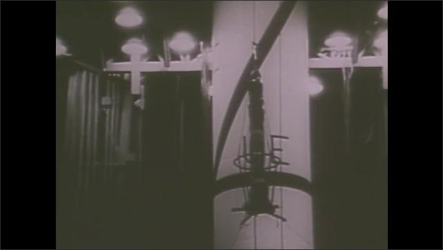1980s: Men in uniforms sit around model rocket, talking. Men in lab test flight equipment. Rocket is raised. Rocket engines fire. Rocket is loaded into plane.