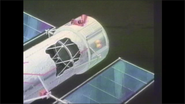 1980s: Illustration of a satellite. Illustration of a different satellite.