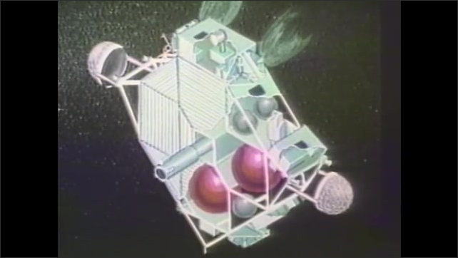 1980s: Illustration of rocket launching. Illustration of a different rocket launching. Illustration of satellite in space. Satellite spinning in space.