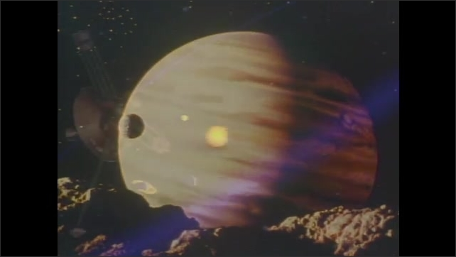1980s: UNITED STATES: Images of Jupiter in space. Animation of Pioneer 10. Satellite dish on ground
